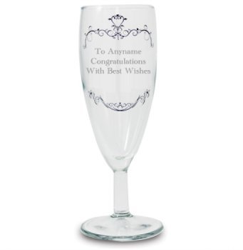 Personalised Engraved Glass - Ornate Swirl Flute Design - A Lovely Gift for any Occasion