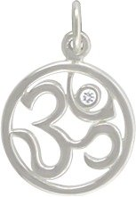 Round Script Om (Ohm) Pendant in Sterling Silver with a 1 Pt. Diamond Accent, #7634