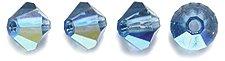 Preciosa 4-Mm Czech Crystal Diamond/Bicone Bead, Montana Aurora Borealis, 144-Piece