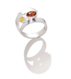 Sterling Silver Multicolor Amber Wrap Around Ring / Size 7