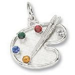Rembrandt Charms Artist Palette Charm - Sterling Silver