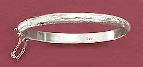 Sterling Silver Bangle, 6.5mm wide, Baby-size, Engraved, Safety Chain, 6 inch