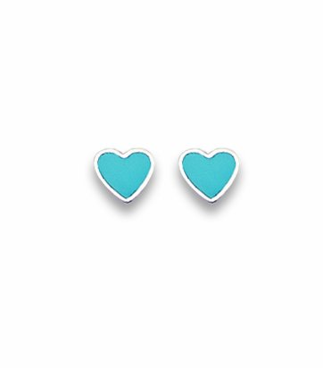 Sterling Silver Heart Stud Earrings Turquoise - SIZE: 5mm . Shipped in our quality Silver Gift Box by 1st class mail.