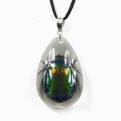 REALBUG Green Chafer Beetle, Necklace, Clear, Small
