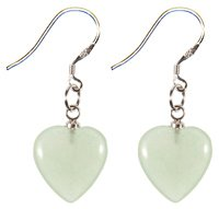 Lovely fashion silver Fish Hook Earrings by BodyTrend - Aventurine Genuine Heart Stones Design - Very Fashionable
