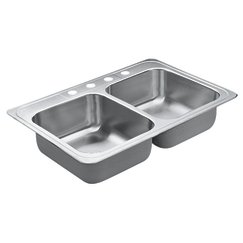 Big Save! Moen 22821 Excalibur 4 Hole Stainless Steel 22 Gauge Double Bowl Drop In Sink, Stainless