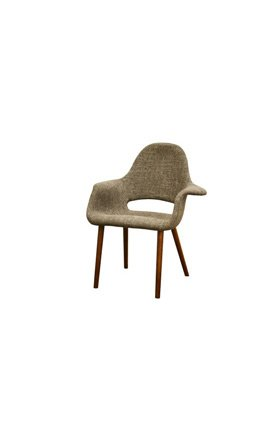 Wholesale Interiors DC-594 Forza Twill Mid-Century Style Accent Chair in Taupe - Set of 2