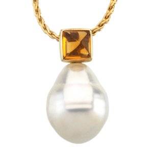 14k S. Sea Cult. Pearl Cit. Pendant 6mm 12mm Fine Circle - JewelryWeb