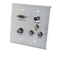 C2G / Cables to Go 40507 Double Gang HD15, 3.5mm, Composite Video, Stereo Audio, S-Video Wall Plate (Aluminium)