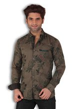 Kivon Men's Green Slim Fit Printed Casual Shirt