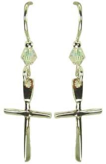 Jody Coyote Silver Cross Bead Earrings WB413S