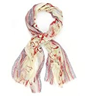 Indigo Collection Lightweight Flamingo Border Print Scarf
