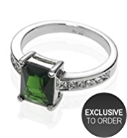 M&S Collection Platinum Plated Multi-Faceted Cut Bead & Diamanté Ring