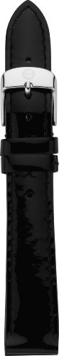 MICHELE MS18AA050001 18mm Patent Leather Black Watch Strap