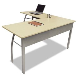 Linea Italia Trento Line L-Shaped Desk, 59-1/8W X 59-1/8D X 29-1/2H, Oatmeal (Littr737Oat) Category: Wood Desks