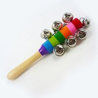 Multicolor Wooden Kids Shaking Bell Rainbow Rattles