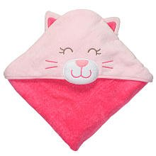 Carter's Cat Hooded Baby 100% cotton Bath Towel - Pink