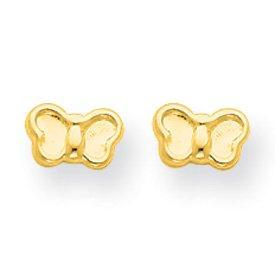 14k Yellow Gold Butterfly Children's Post Earrings