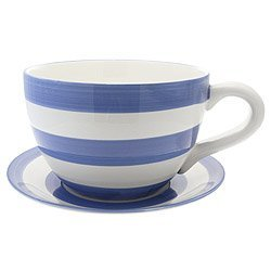 Lifestyle Products, Blue Stripe Tea Cup & Saucer Planter, 16.5 x 33.5 x 25.5 cm