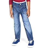 Ribbed Waist Washed Look Bow Leg Jeans