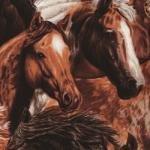 Fat Quarter Nature's Corner Horse Heads Cotton Quilting Fabric 50cm x 55cm