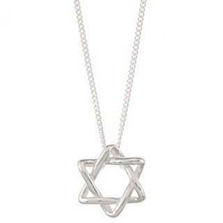 Sterling Silver Tiffany Style 'Star of David' Pendant Necklace
