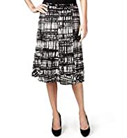 Per Una Pure Linen Crossboard Print Skirt with Belt