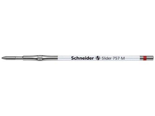 Schneider Lot de 10 recharges pour stylos à bille SLIDER 757 à technologie ViscoGlide mine M (Rouge)