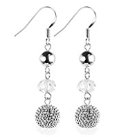 M&S Collection Silver Plated Assorted Bead Triple Drop Earrings