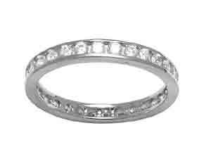Size 9 Eternity Channel Set Cubic Zirconia Band 14k White Gold Ring