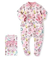 3 Pack Pure Cotton Floral Sleepsuits