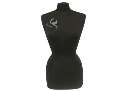 (Jf-f6/8BK+BS-04) Display Female Body Form Black jersey form with metal base