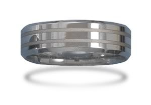 Tungsten Carbide Men's Ring with Alternating Shine and Matte Finish / Size 10.5