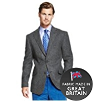 Sartorial Pure Wool Slim Fit Herringbone Jacket