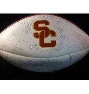 Signed Trojans, USC (1996) USC Trojans White Panel Football by the 1996 Team (Light... by Powers Collectibles