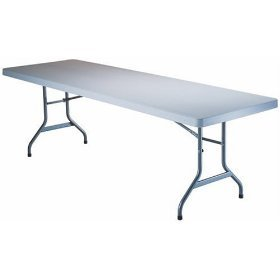 NEW LARGE FOLDING TABLE - WHITE - 8' feet -Poly Resin