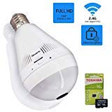 Light Bulb Camera, 3MP Hidden Lamp Security Cam with 16G Sd Card, Wireless WiFi 360 Panoramic VR Fisheye Spy IP CCTV Video Surveillance System, Front Door, Porch E26 LED Fixture, Home Indoor Usage (Color: White 3M With SD)