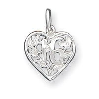 Sterling Silver 16 Heart Charm - JewelryWeb