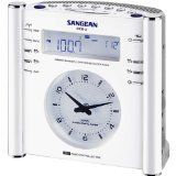 Sangean America RCR3 Radio-Controlled Atomic Digital AM/FM Clock Radio (White)