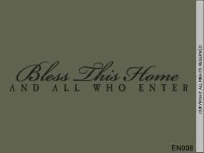 BLESS THIS HOME AND ALL WHO ENTER Vinyl wall lettering quotes and sayings home art decor decal