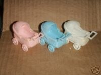 12 Plastic Buggy Carriage Baby Shower Favor Pink front-607481