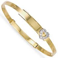 Jewelco London 9ct Flat diamond cut solid gold children's expanding bangle with cubic zirconia set heart