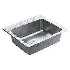 Moen S22337 18-Gauge Lancelot Stainless Steel Single Bowl Drop In Sink, Satin