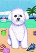 Bichon Frise - by Tomoyo Pitcher, Summer Themed Dog Breed Flags 12 x 18