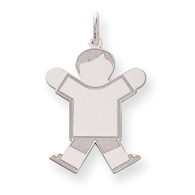 Sterling Silver Kid Charm - JewelryWeb