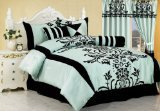 Chezmoi Collection 7-Piece Aqua with Blue and Black Floral Flocking Bed-in-a-Bag Comforter Set, Full/Double