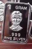 1 Gram Solid Silver .999 Bar Lincoln