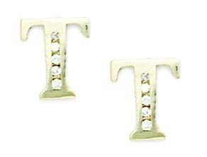 14ct Yellow Gold CZ Large Initial T Earrings - Measures 10x8mm