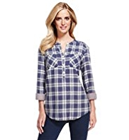 M&S Collection Pure Cotton Double Face Checked Shirt