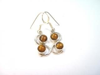 Beautiful Things for Women Tiger's Eye Gemstone Stamped 925 Sterling Silver Drop Earrings 3.7 cm in length and each earring weighs 2 g